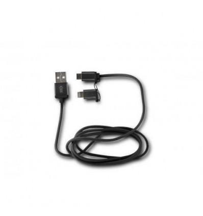 KSIX 2 1 MICRO USB LIGHTNING BK Cable Dato