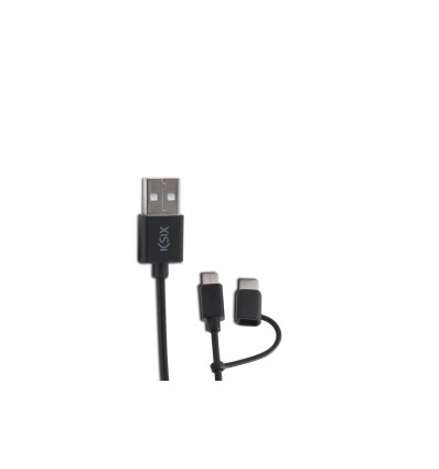KSIX 2 1 USB MICROUSB ADT USB C 1M BK Cable Dato