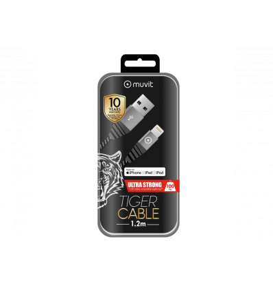 MUVIT TIGER CABLE LIGHTNING 1,2 MT 2,4A GREY Cable