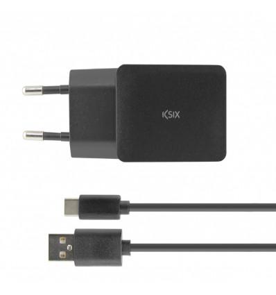 KSIX 2 4A USB + CABLE TIPO C 1M BK Cargador Red
