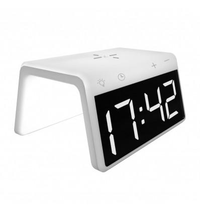 Ksix cargador inalámbrico con reloj despertador (blanco)