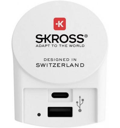 Skross adaptador enchufe (Unión europea a USB-c y usb-a)
