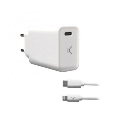 Ksix cargador de pared para iphone 18w usb-c a lightning
