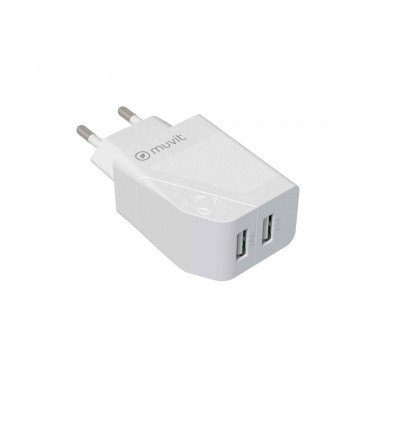 MUVIT FOR CHANGE 2 USB 4 8A 24W   WHITE Cargador