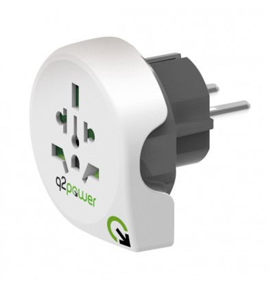 Q2power single adapatador enchufe universal / mundo a europa para viajes