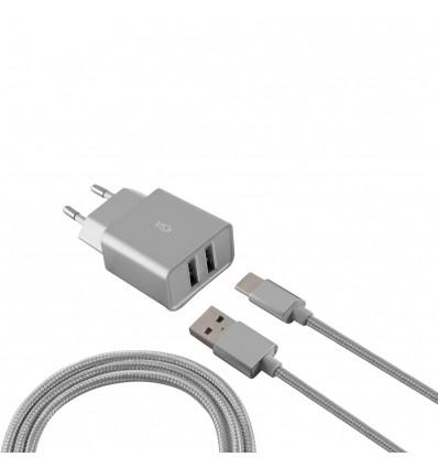 Ksix cargador pared 2.4 con 2 puertos usb + cable microusb - color plateado
