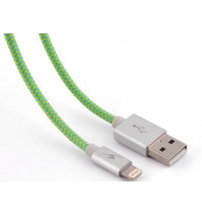 Bluestork trendy cable conexión lightning 1.2m color verde para iphone / ipad