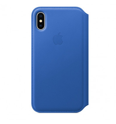 Apple iphone x leather folio   elctric blue iphone