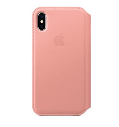 Apple leather folio  funda de tapa de cuero rosa para iphone x